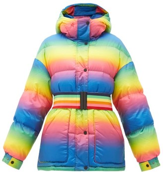 Perfect Moment Oversized Rainbow-belt Down-filled Ski Jacket - Rainbow