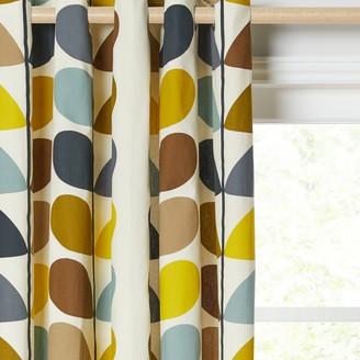 Orla Kiely Multi Stem Pair Lined Eyelet Curtains, Duck Egg