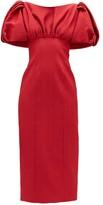 Emilia Wickstead Petunia Puffed-sleeve Cloque Midi Dress - Womens - Red