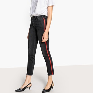 La Redoute Collections Cropped Side-Stripe Slim Fit Jeans