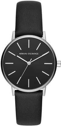 Armani Exchange Women Lola Black Leather Strap Watch 36mm
