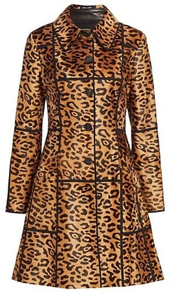 The Fur Salon Norman Ambrose For Leopard-Print Lamb Hair Flare Coat