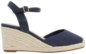 Easy Steps Santos Navy Fabric Wedge Sandals