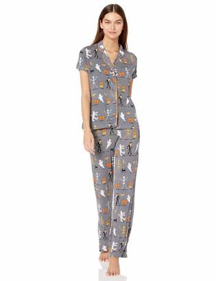 Munki Munki Women's Nite Jersey Notch Collar PJ Short Sleeve and Pant Set
