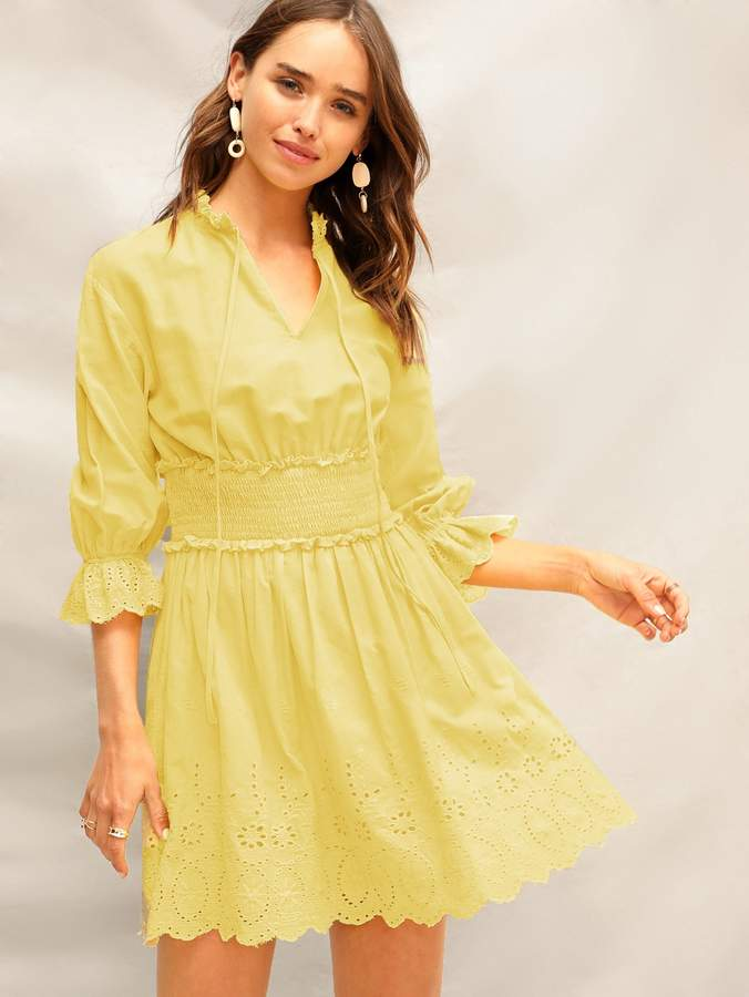 329f9b42ee0b1 Yellow Tie Neck Dresses - ShopStyle