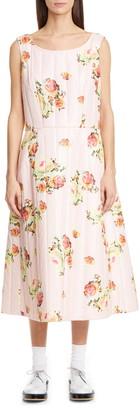 Comme des Garcons Floral Quilted Satin Midi Dress