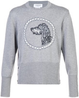 Thom Browne Crewneck Pullover With Hector Embroidery In Fine Merino Wool