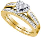 Saris and Things 14kt Yellow Gold Womens Natural Diamond Heart Love Bridal Wedding Engagement Ring Band Set 1/2 Cttw