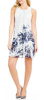 Calvin Klein Floral Printed Chiffon Inverted Pleat A-Line Dress