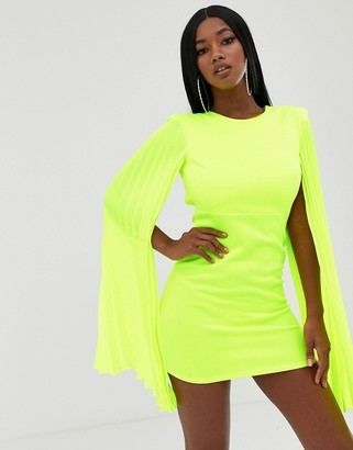 John Zack bodycon mini dress with pleated bell sleeve in lime-Green