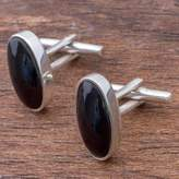 Sterling Silver and Obsidian Oval Cufflinks from Peru, 'Oval Black'