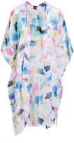 Lvs Collections LVS Collections Women's Kimono Cardigans BLUE - Blue Cloud Cape-Sleeve Kimono - Women