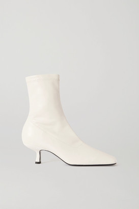 BY FAR Audrey Leather Ankle Boots - White