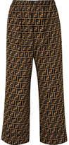 Fendi Cropped Printed Silk Crepe De Chine Wide-leg Pants - Brown
