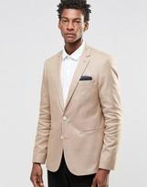Asos Skinny Blazer In Cotton In Stone