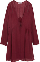 IRO Enya Cutout Gauze Mini Dress - Burgundy