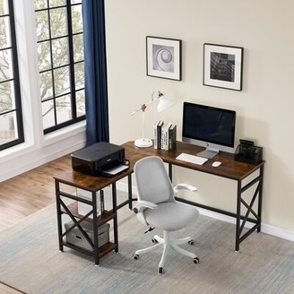 Latitude Run Dakston L-Shape Desk and Chair Set Color: Black
