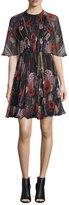 Jason Wu Floral Half-Sleeve Cocktail Dress, Black/Multi