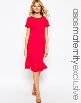 Asos Skater Dress With Ruffle Sleeves