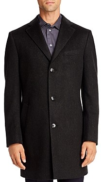 Cardinal of Canada Tonal Herringbone Regular Fit Topcoat