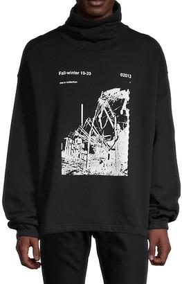 Off-White Graphic Cotton High Neck Sweatshirt