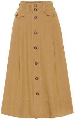 Polo Ralph Lauren Cotton-blend twill midi skirt