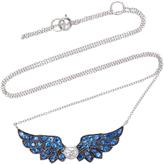 Nam Cho Small Angel Wing 18K White Gold Diamond and Sapphire Pendant
