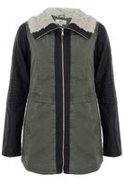 Quiz Khaki And Black PU Zip Front Collar Jacket