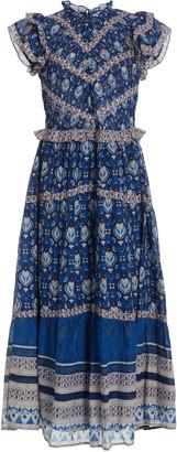 Sea Brigitte Smocked Printed Cotton Midi Dress
