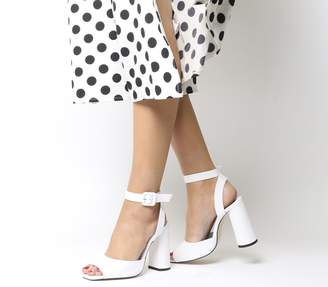 Office Heartly Ankle Strap Heels White Leather