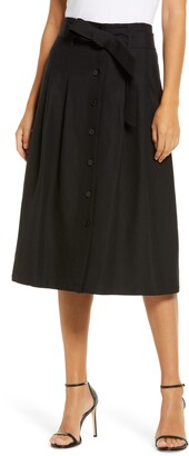 Anne Klein Belted Button-Up Linen Blend Skirt