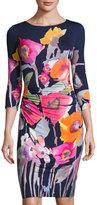 Kay Unger New York 3/4-Sleeve Floral-Print Jersey Dress, Blue Pattern