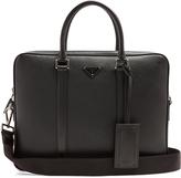 Prada Logo-plaque grained-leather briefcase