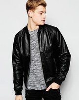 !solid Leather Bomber Jacket