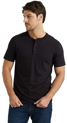 Lucky Brand Pima Cotton Henley Tee (Black Onyx) Men's Clothing