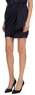 The Kooples Draped Leopard Print Mini Skirt
