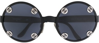 Chanel Pre Owned CC logos round sunglasses eye wear