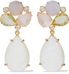 Bounkit Convertible 14-karat Gold-plated Mother-of-pearl, Moonstone And Quartz Earrings