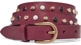 Isabel Marant Kinley Studded Leather Belt - Burgundy