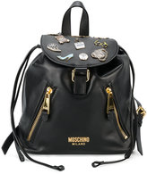 Moschino badge appliqué backpack - women - Leather - One Size
