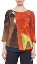 Akris Punto Rock Climbing Wall 3/4-Sleeve Top, Rust