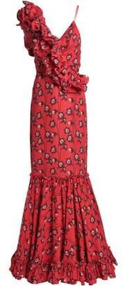 Johanna Ortiz Ruffled Printed Silk Gown
