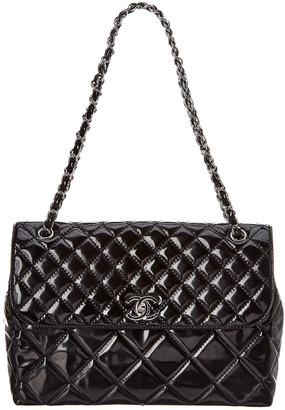 Chanel Black Quilted Patent Leather Maxi Single Flap Bag