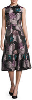 Co Belted Floral Brocade Sleeveless Flounce Dress, Multi