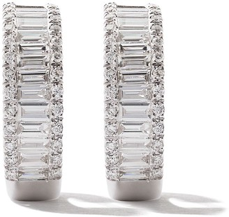 As 29 18kt white gold Essentials round and baguette diamond drop earrings