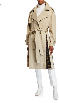 Rokh Cotton Trench Coat with Scarf-Insets