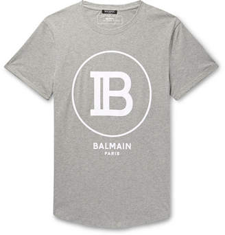 Balmain Logo-Flocked Melange Cotton-Jersey T-Shirt
