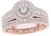 Zales 1 CT. T.W. Diamond Double Frame Multi-Row Bridal Set in 14K Rose Gold