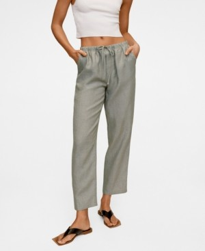 MANGO Women's Straight Linen-Blend Pants