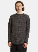 Rick Owens Oversized Mohair Knit Sweater In Black And Grey